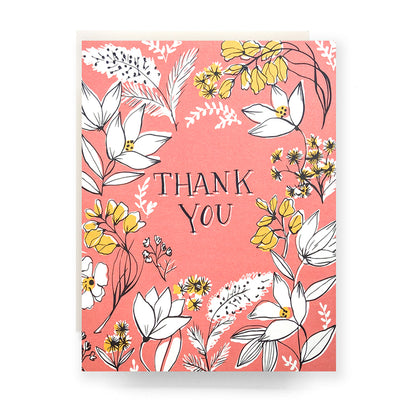 Floral Toile Thank You Card Antiquaria