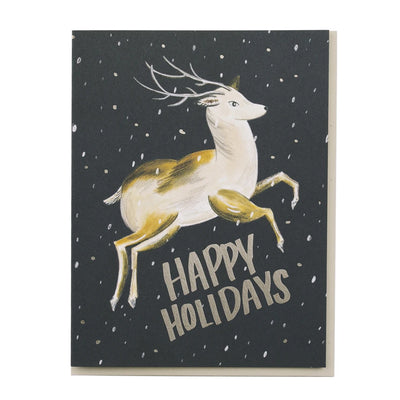Flying Reindeer Happy Holidays Card