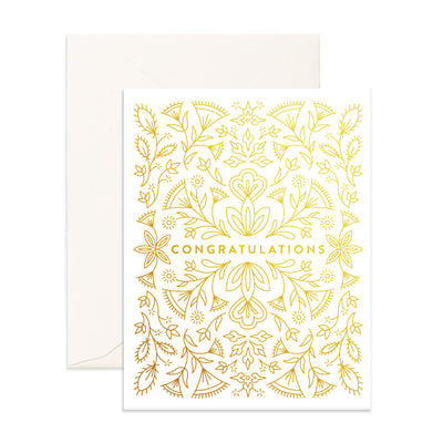 Gold Congratulations Card Fox & Fallow