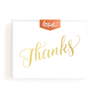 Thanks Foil Greeting Card Boxed Set of 8 Fox & Fallow