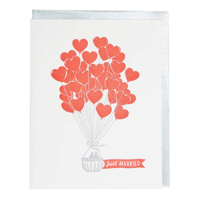 Heart Air Balloons Wedding Card Smudge Ink