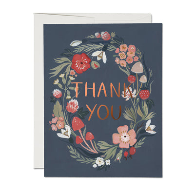 Forest Blue Thank You Card Red Cap Cards