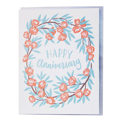 Peony Wreath Anniversary Card Smudge Ink