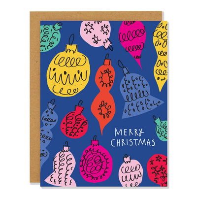 Merry Christmas Retro Baubles Cards / Boxed Set of 8 Badger & Burke