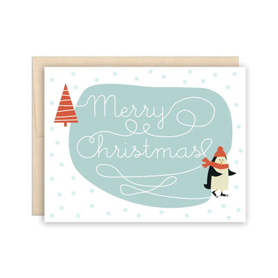 Penguin on Ice Holiday Christmas Card The Beautiful Project