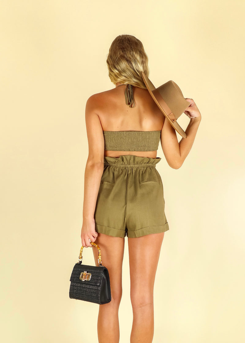 Hang Loose Bandeau Top- Olive