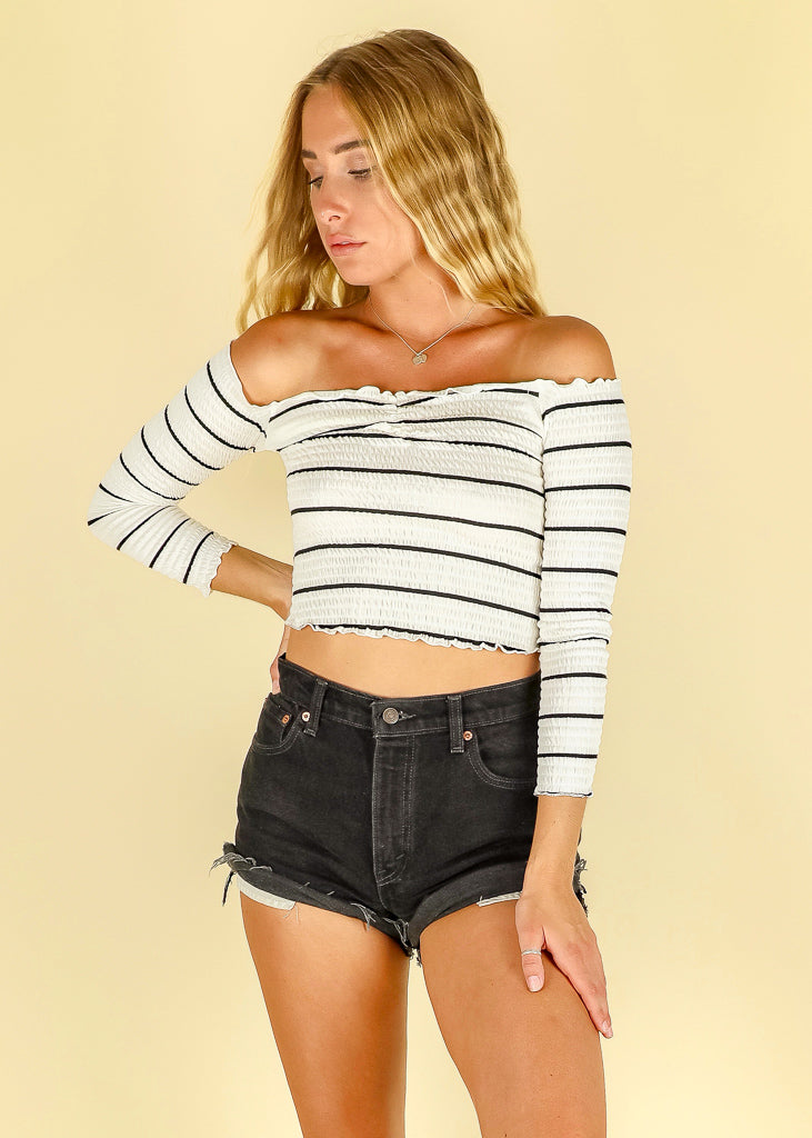 Striped Bardot top