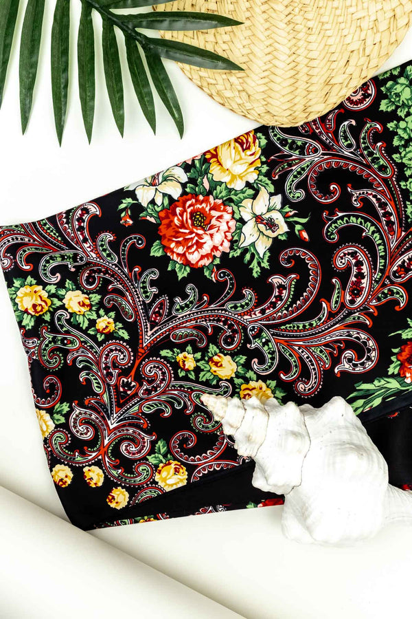 Tide Silk Scarf Black Paisley