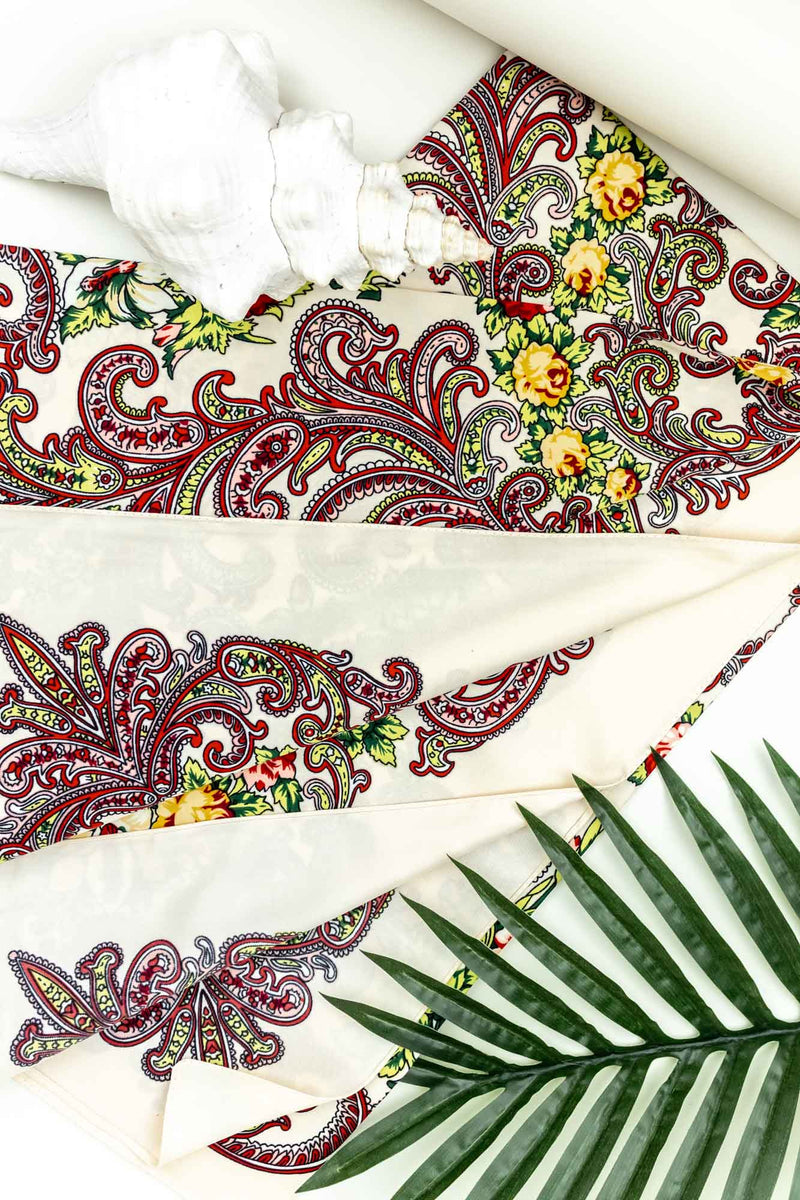 Tide Silk Scarf Ivory Paisley