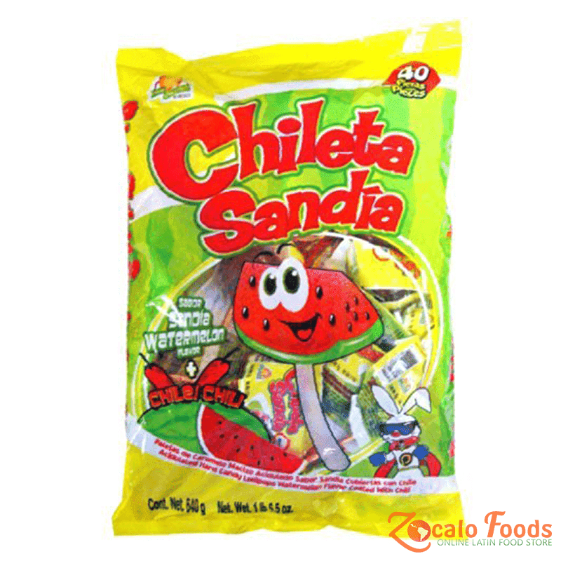Chileta Sandia Chili Powdered Watermelon Lollipop 40ct, 22.6 oz