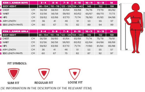 Kilpi Kids Snow Gear Size Chart