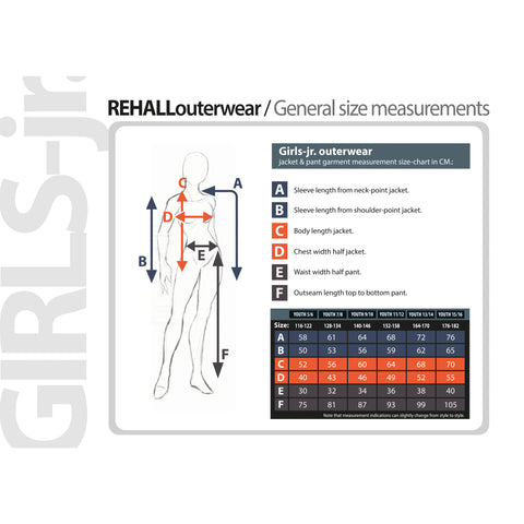Rehall Girls Size Chart for sizes 8 to 16 years old