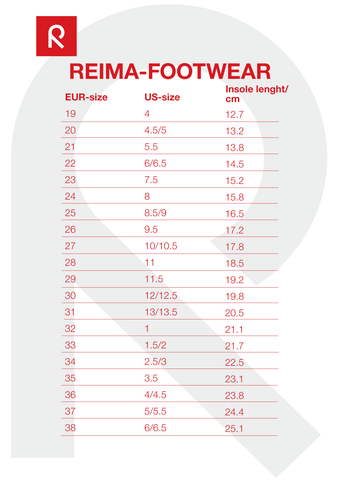 Reima Footwear Size Chart for newborns to 14 year olds