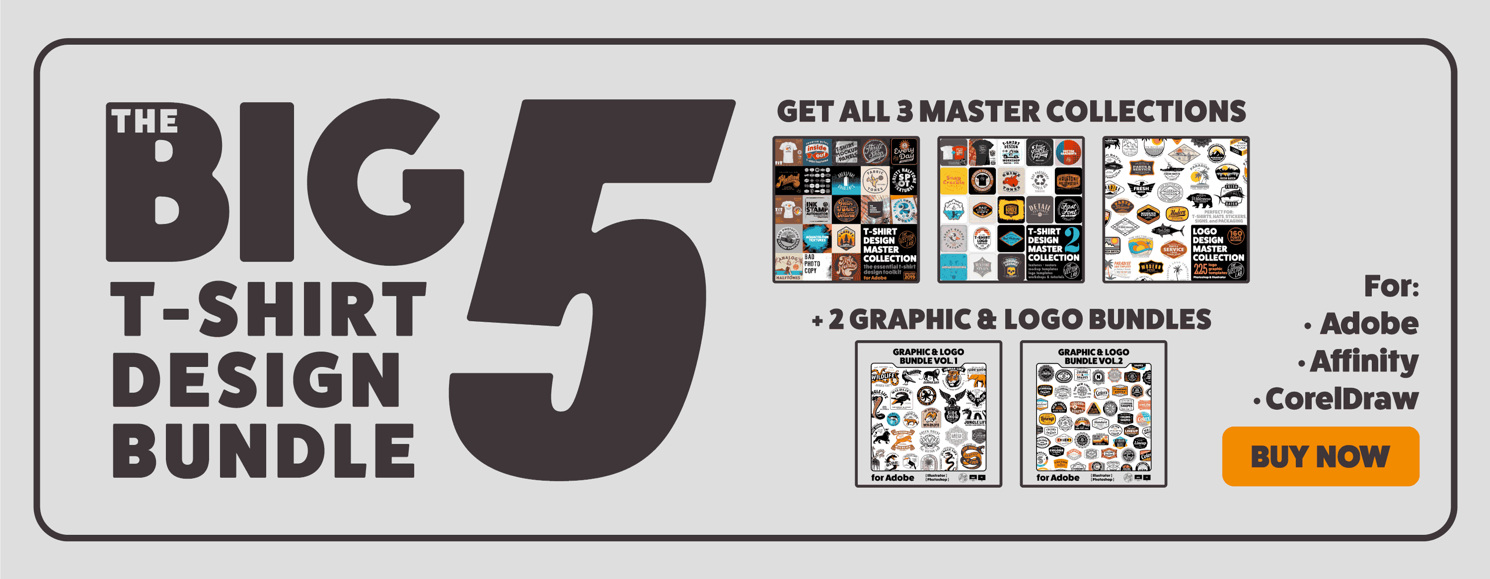 The Big 5 T-Shirt Design Bundle