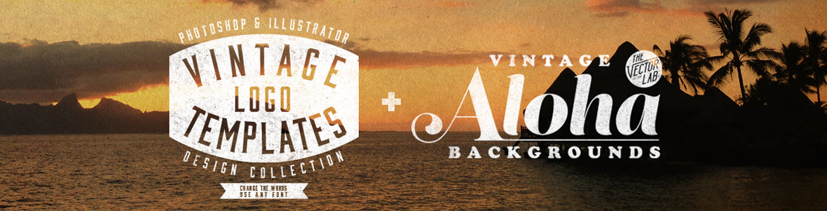 Vintage Workwear Logo Templates and Vintage Aloha Backgrounds