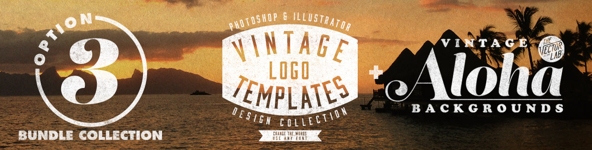 Vintage Logo Templates and Aloha Backgrounds Bundle