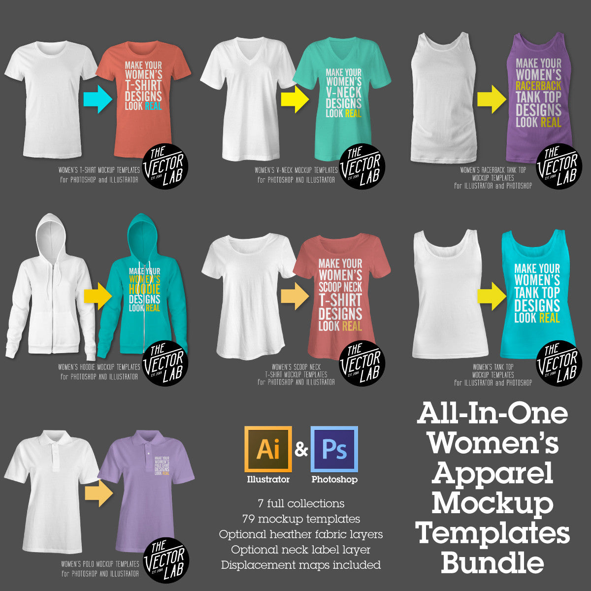 Women's T-Shirt & Apparel Mockup Templates Bundle for Photoshop and Illustrator
