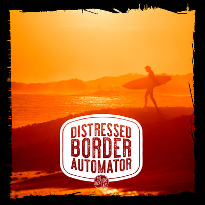 Surfer sunset - Distressed Border Automator for Photoshop by TheVectorLab