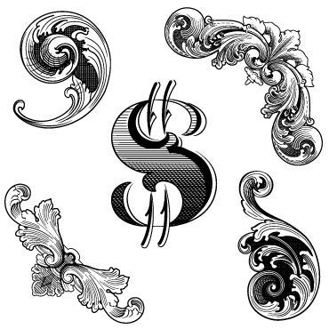 Engravings - vector banknote and currency ornament