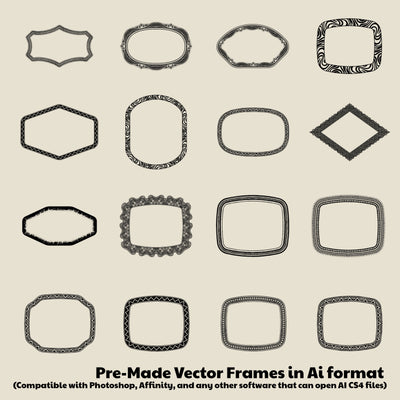 Flex Frames for Illustrator & Photoshop - Detailed Border Designs