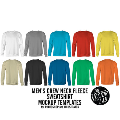 Men's Crew Neck Mockup Templates Photoshop & Illustrator