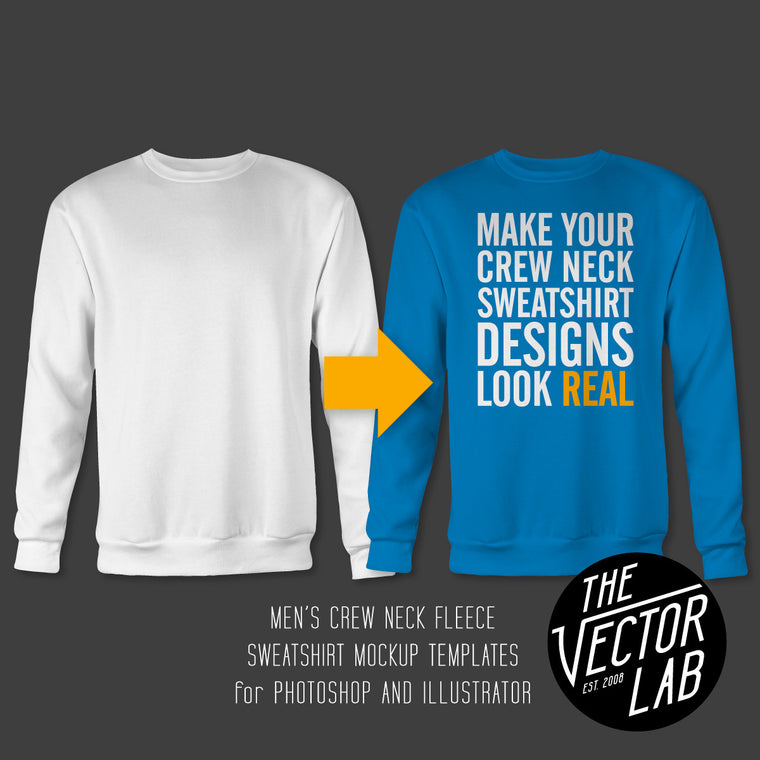 Men's Crew Neck Sweatshirt Mockup Templates for Photoshop and Illustrator