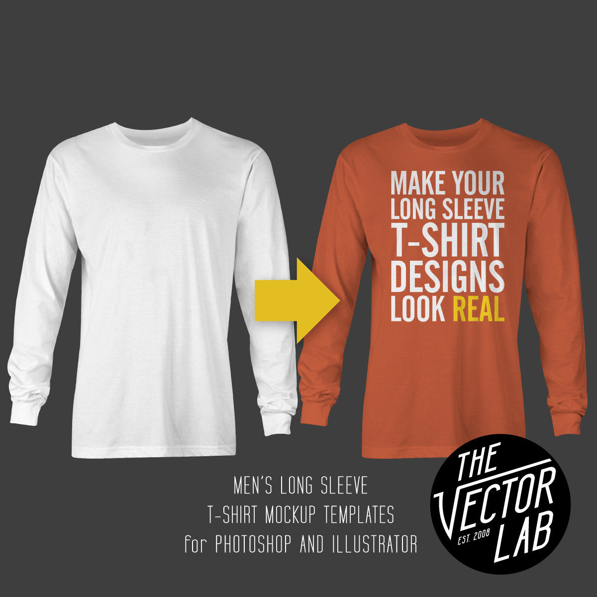 Men's Long Sleeve T-Shirt Mockup Templates - TheVectorLab