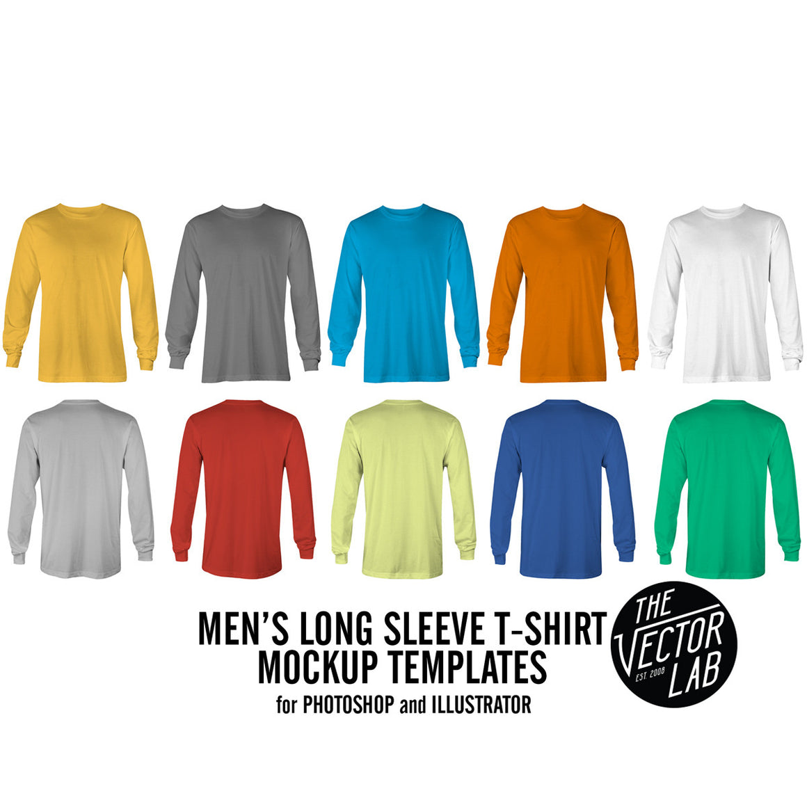 Men's Long Sleeve Mockup Templates Photoshop & Illustrator