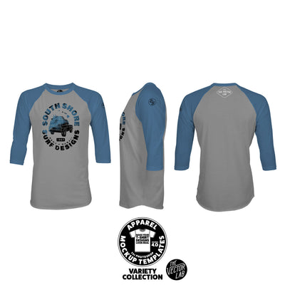 Men's Raglan T-Shirt Mockup Templates for Photoshop