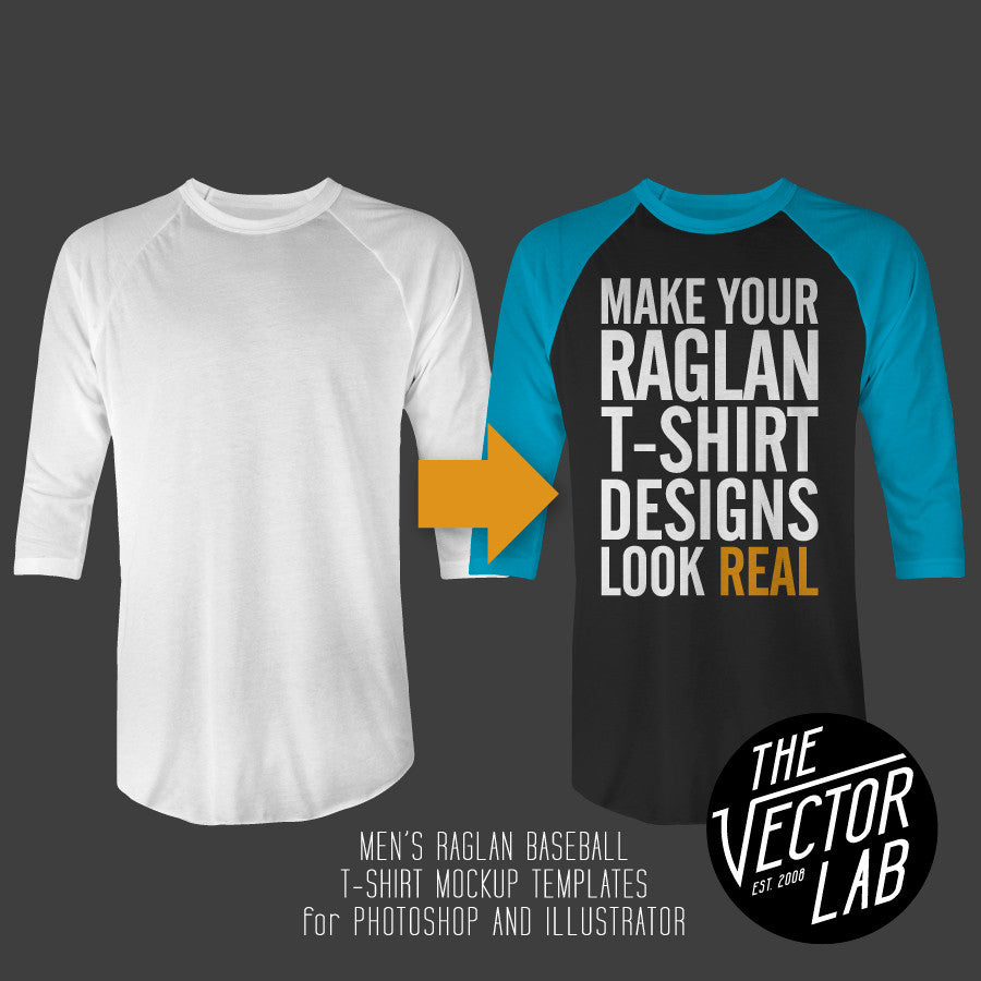 Men's Raglan Shirt Mockup Templates Photoshop & Illustrator