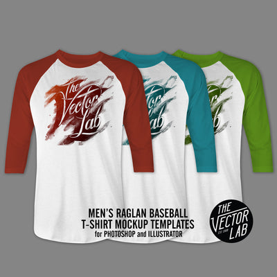 Men's Raglan Baseball T-Shirt Mockup Templates for Photoshop and Illustrator