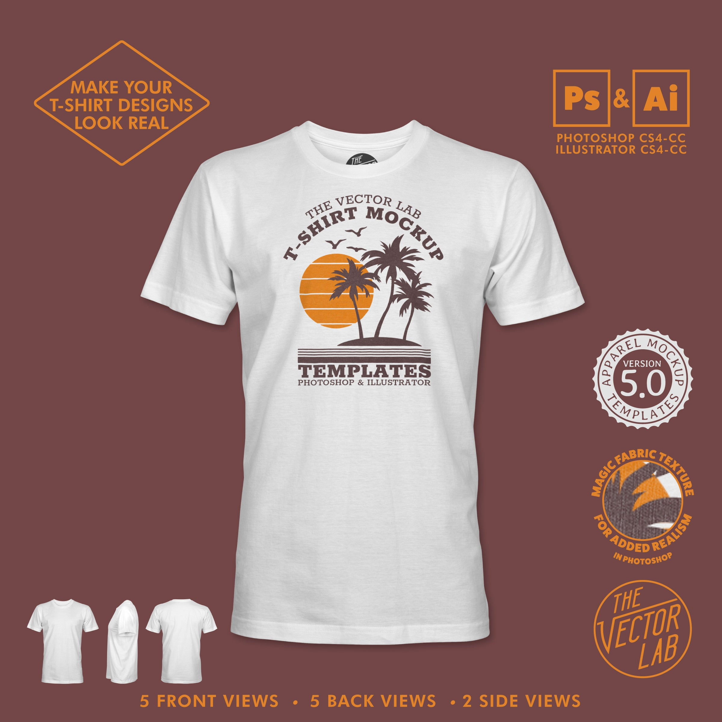 1f85a0ac ... Men's T-Shirt Mockup Templates for Photoshop and Illustrator ...
