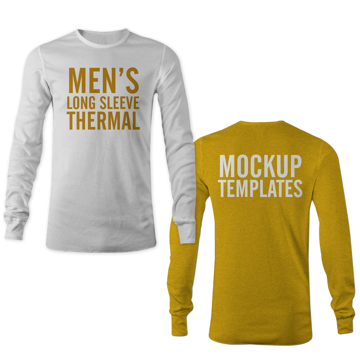 Men's Thermal Long Sleeve Shirt Mockup Templates Photoshop and Illustrator