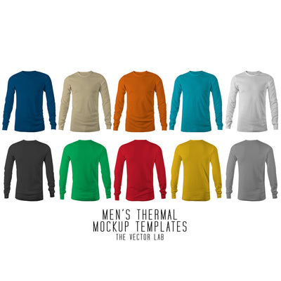 Men's Thermal Long Sleeve Mockup Templates Photoshop & Illustrator