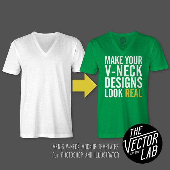 Mens V-Neck Mockup Templates for Photoshop and Illustrator