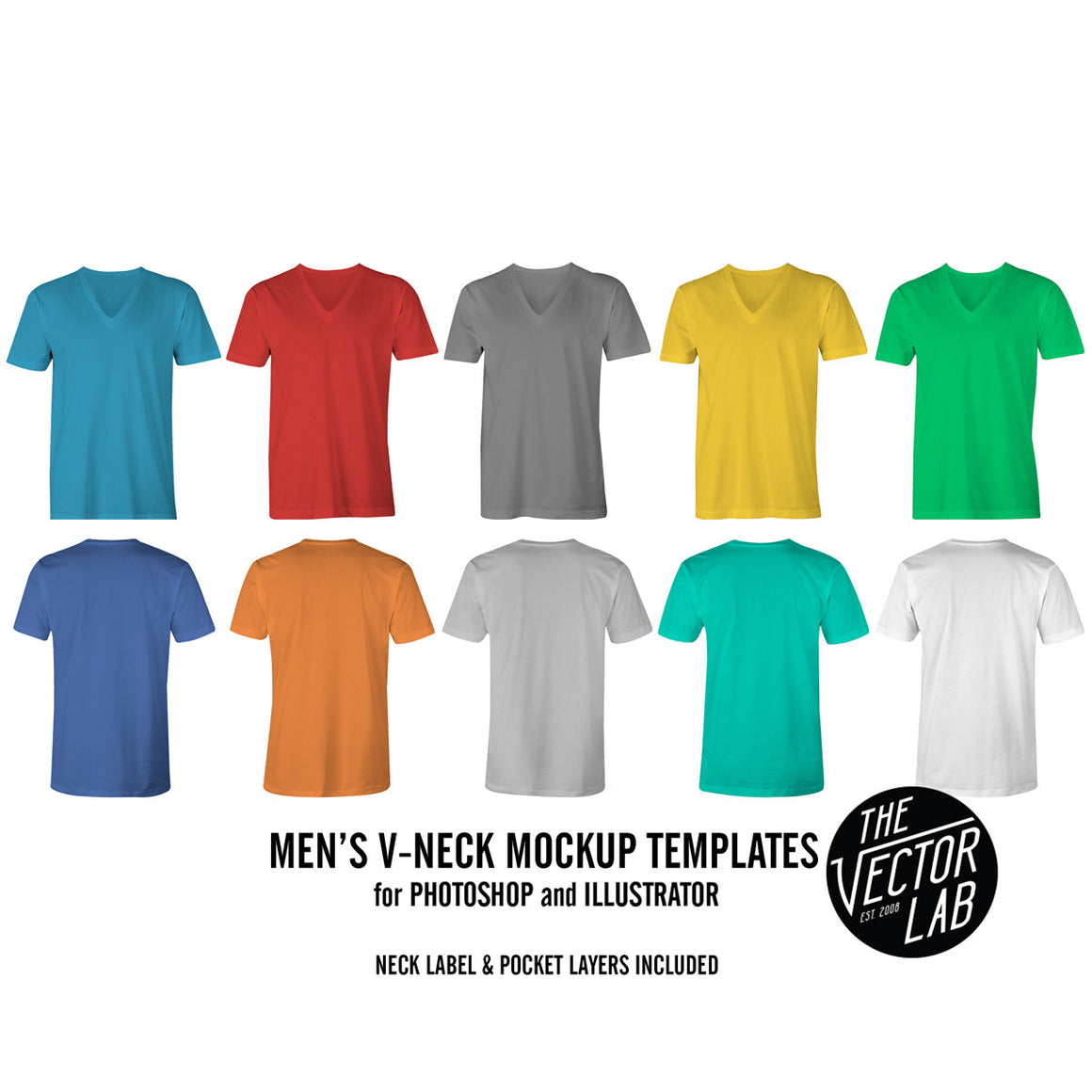 Men's V-Neck Mockup Templates Photoshop & Illustrator