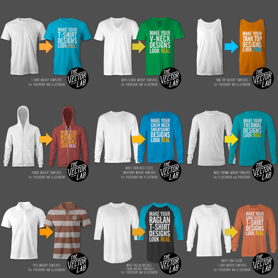 2aed6718 Men's T-Shirt and Apparel Mockup Templates Bundle