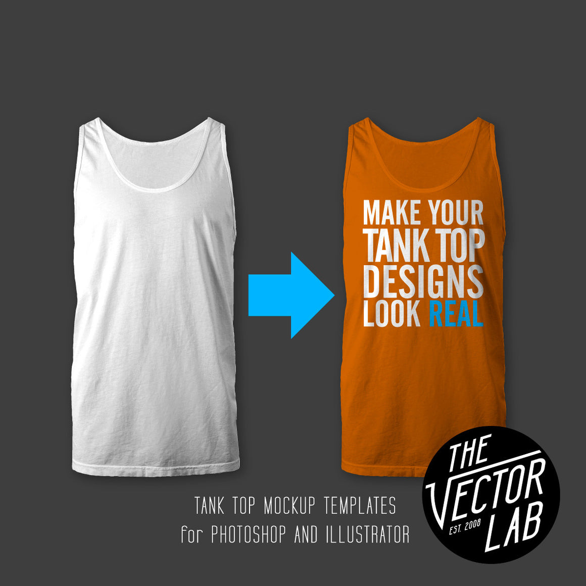 Men's Tank Top Shirt Mockup Templates for Photoshop and Illustrator