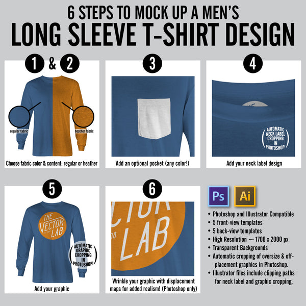 6 Steps to Mock Up a Men's Long Sleeve T-Shirt Design - Templates for Photoshop and Illustrator
