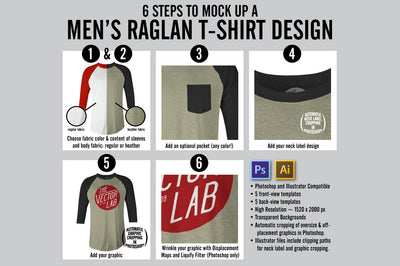 6 Steps to Mock Up a Men's Raglan Baseball T-Shirt - Photoshop and Illustrator