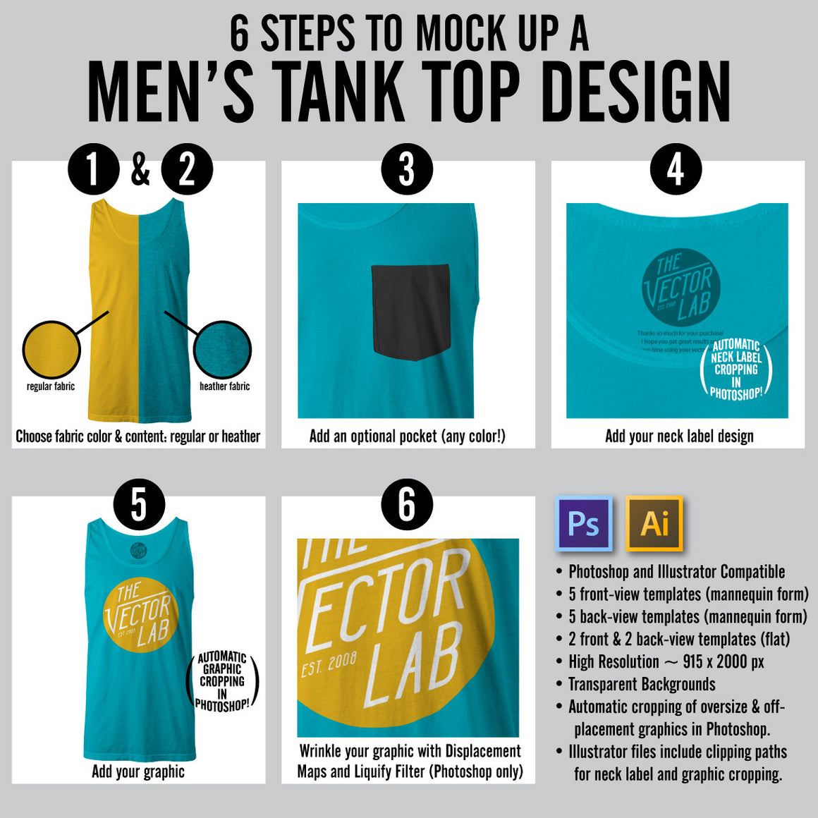 Steps to Mock Up a Men's Tank Top Shirt Design - Photoshop and Illustrator
