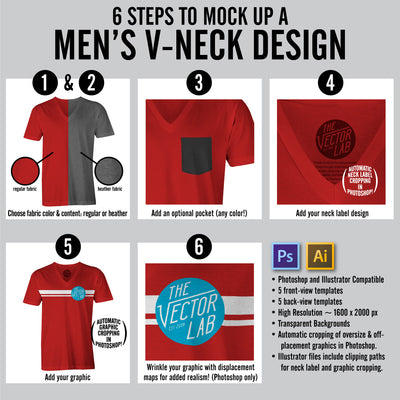 6 Steps to Mock Up a Men's V-Neck T-Shirt Design - Templates for Photoshop and Illustrator