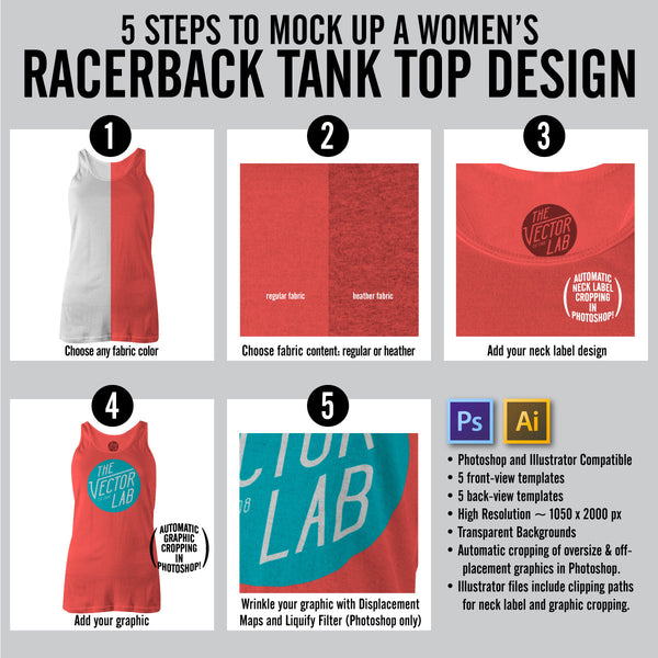 Steps to Mock Up a Women's Racerback Tank Top Singlet - Photoshop and Illustrator
