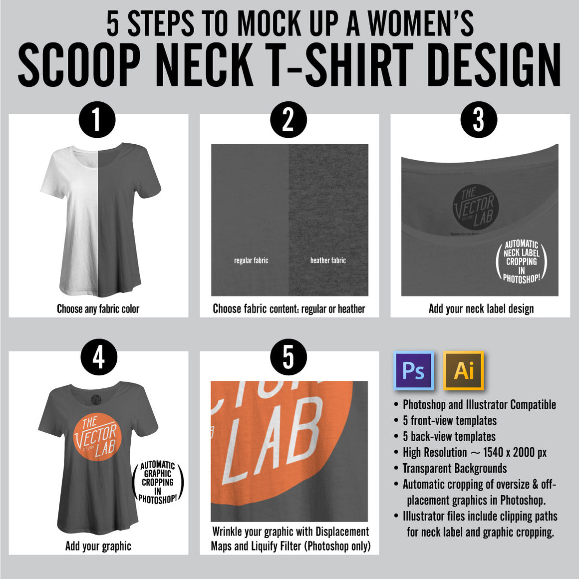 Steps to Mock Up a Women's Scoop Neck T-Shirt Design - Photoshop and Illustrator