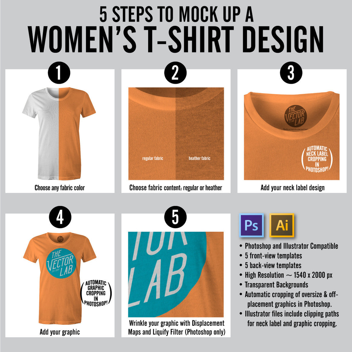 How to Mock Up a Women's T-Shirt Design