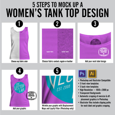 Steps to Mock Up a Women's Tank Top Design for Photoshop and Illustrator
