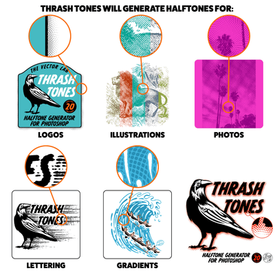 ThrashTones Halftone Generator for Photographs, Logos, Lettering, Illustrations, and Gradients