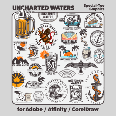Uncharted Waters - Nautical graphic templates for Adobe, Affinity, CorelDraw