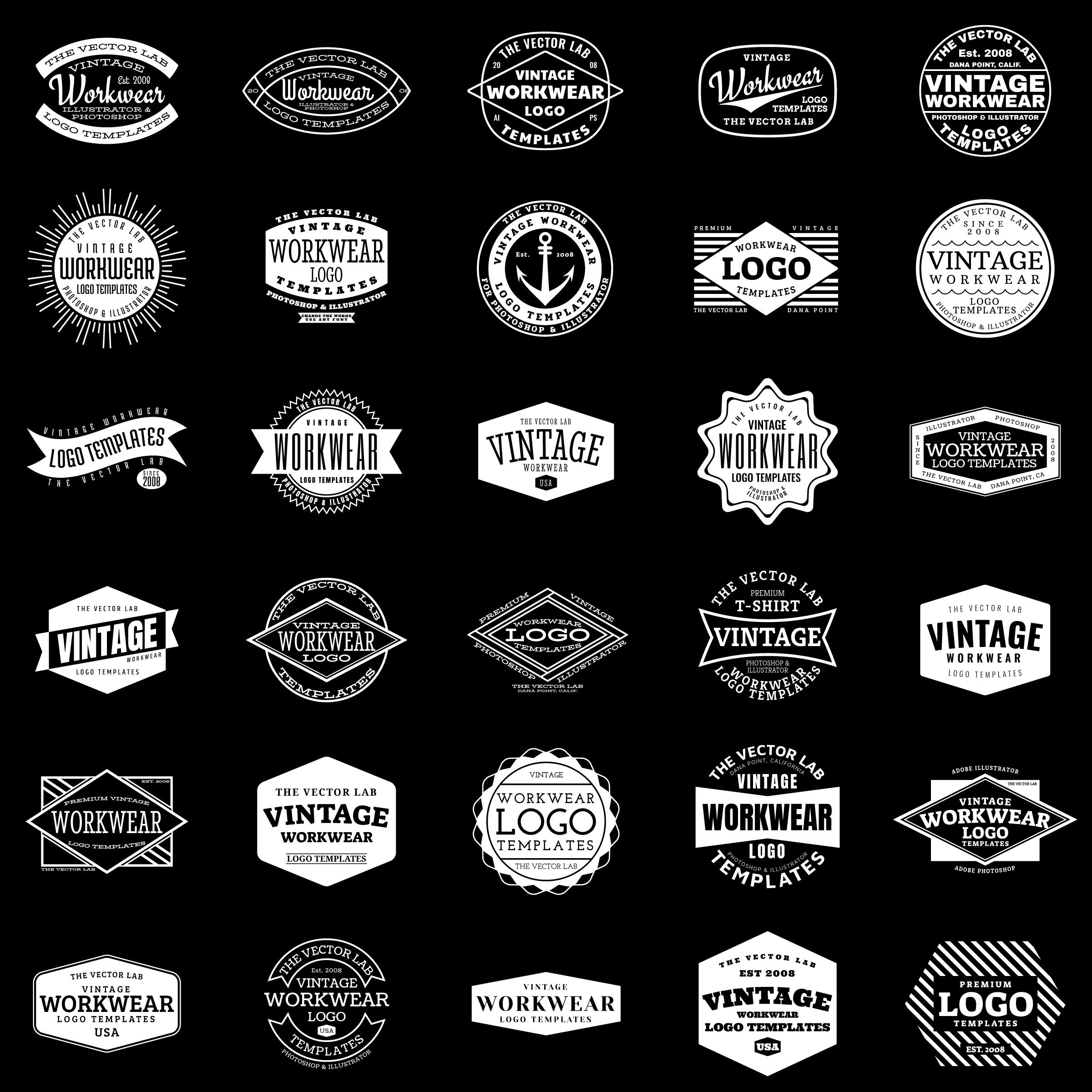 Vintage Workwear Logo Templates - TheVectorLab