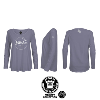 Women's Flowy Long Sleeve T-Shirt Mockup Templates for Photoshop